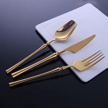 Hot Sale 24 Pcs/set Pure Gold european Dinnerware knife 304 Stainless Steel Western Cutlery Kitchen Food Tableware Dinner Set