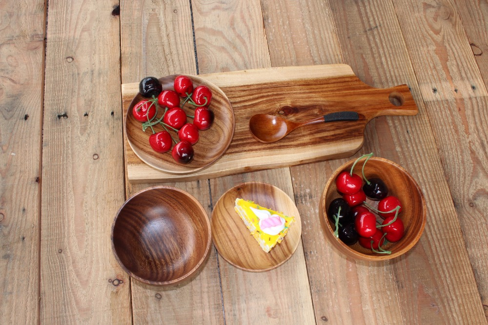 10pcs Acacia Wooden Chopping Board Party Serving Tray Dinner Plate for Cake Bread Pizza The Whole Wood Not Spliced