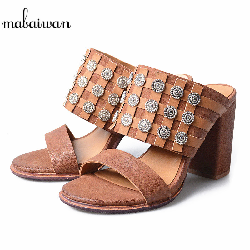 Mabaiwan Women Shoes Summer Flip Flops Genuine Leather Sandals High Heels Slipper Casual Shoes Woman Gladiator Peep Toe Pumps mabaiwan women shoes genuine leather summer sandals casual platform wedge shoes woman rivets gladiator wedges breathable sandal