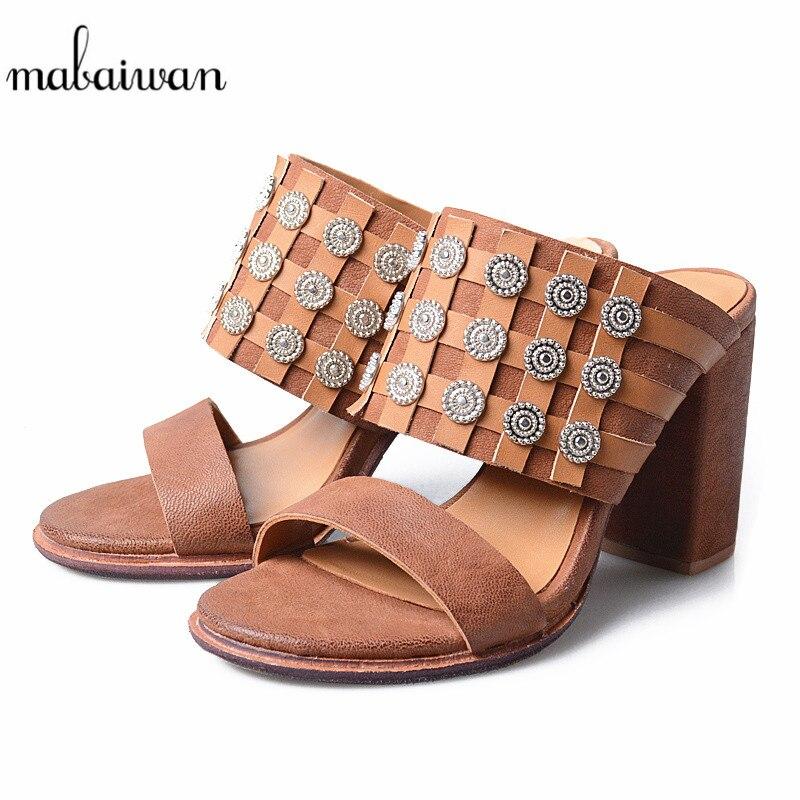 67a7b98faf4 Mabaiwan Peep Flip marrón Zapatos Cuero Mujer Verano Sandalias Negro Altos  Casual De Tacones Bombas Zapatillas ...