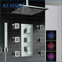 KEMAIDI Bathroom 10″ LED Chrome Shower Faucet Set Thermostatic Valve Mixer Tap W/ 6 Message Jets 50102B Shower  Set