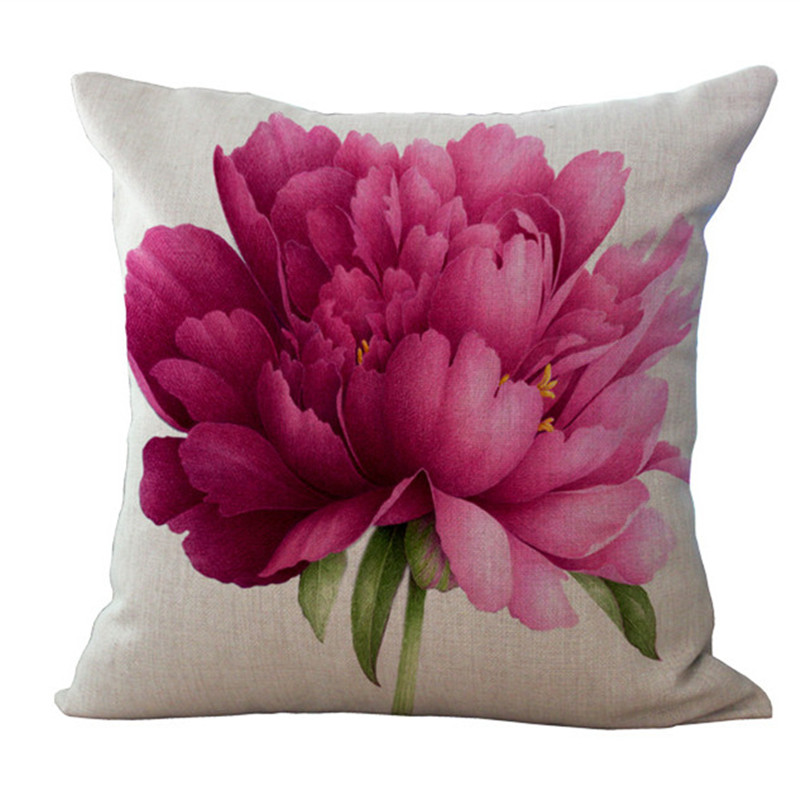 Beautiful Flower Rose Pillow Case One Side Printing Sofa Car Seat Cushion Cover