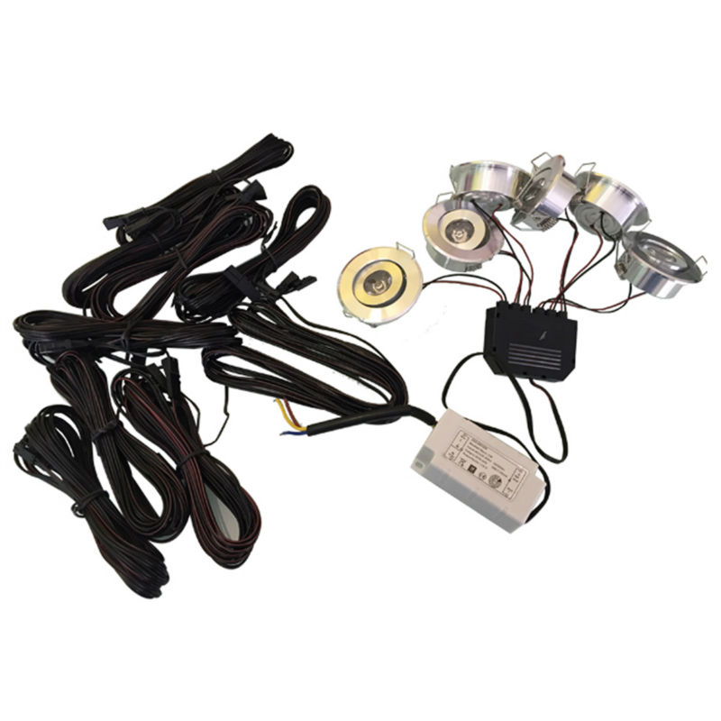 1 set 6pcs 1W Led Home Kitchen mini Led Under Cabinet Lighting 6W 660LM 1pcs 1 to 6 coupling + 1 power + 6pcs 5m extention cable