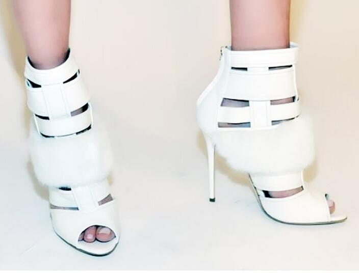Rabbit fur charming white leather hollow out summer high heel sandals women back zipper peep toe ankle boots summer sandal boots rabbit fur charming white leather hollow out summer high heel sandals women back zipper peep toe ankle boots summer sandal boots