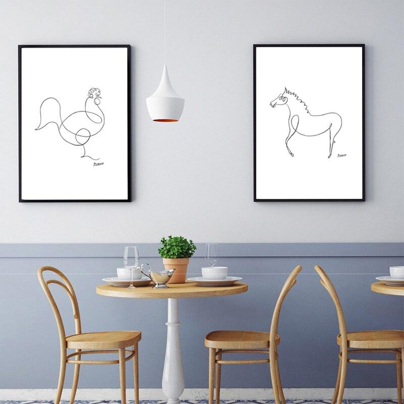 Picasso Abstrakte A4 Kein Rahmen Leinwand Malerei 19 Stile Tiere - Wohnkultur - Foto 6