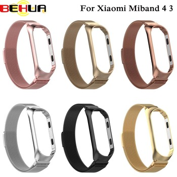 New Watch bands For Xiaomi Mi Band 4 3 with film case Milanese Loop Stainless Steel Wristband Replacement Strap Accessories