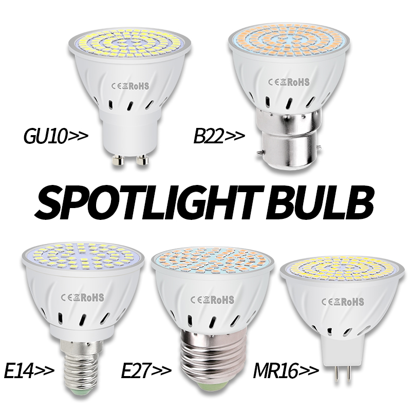 MR16 Spotlight GU5.3 LED Light Bulb GU10 Bombilla E27 Corn Bulb E14 Spot Light Gu 10 LED Lamp 220V B22 48 60 80leds Ampoule 2835