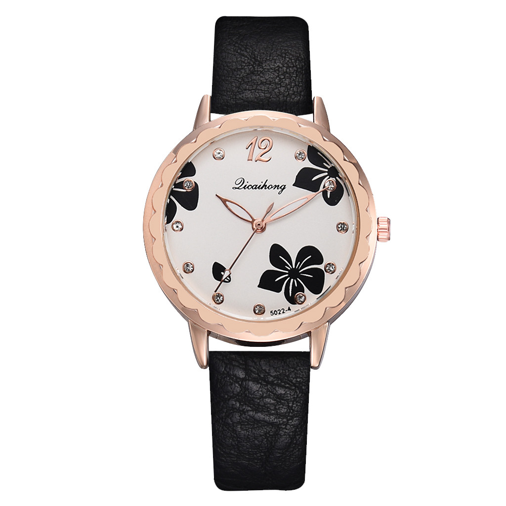 Fashion Women Watch Simple And Simple Leisure Flower Scale Leather Ladies Watch Ladies Clock Female Hours Wristwatches