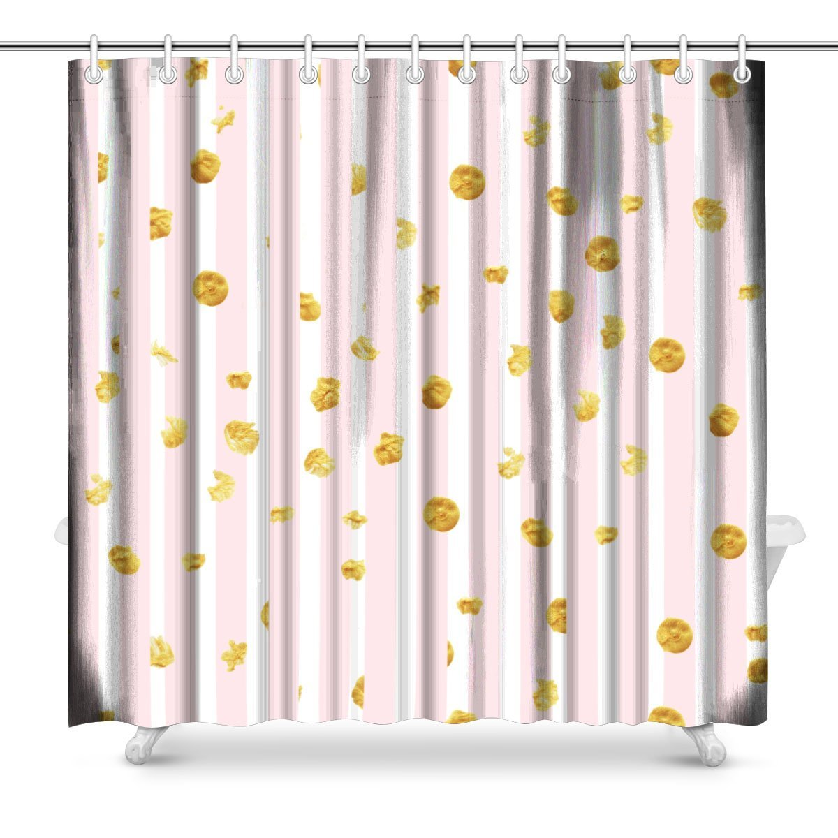 Us 11 67 68 Off Aplysia Pink Stripes And Gold Dots Pattern Print Polyester Fabric Shower Curtain 72 X 72 Inches In Shower Curtains From Home