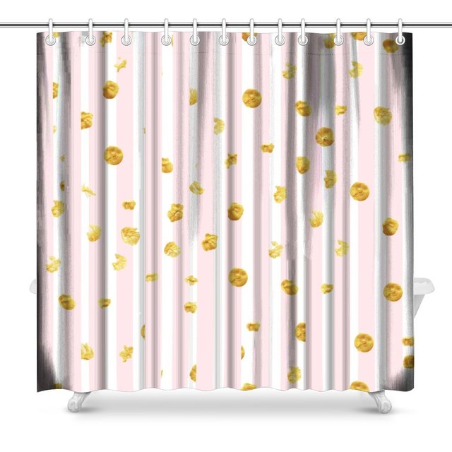 Aplysia Pink Stripes And Gold Dots Pattern Print Polyester Fabric