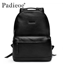 Padieoe Designer Korean Style Men's Backpack Luxury Brand Black Genuine Leather School Backpack Fashion Solid Men Casual Daypack