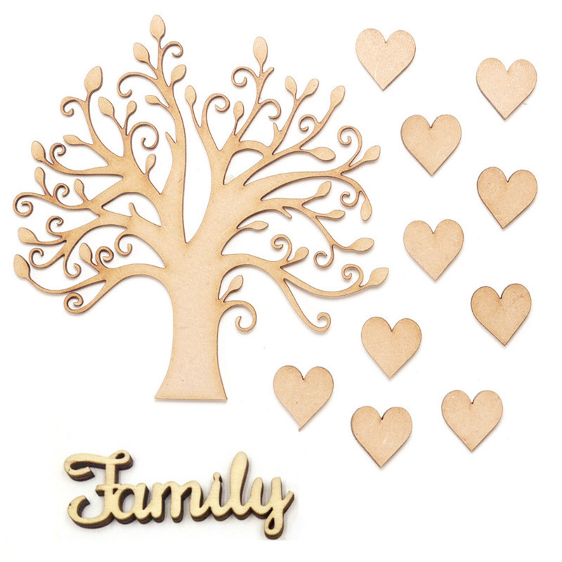 Word /& Banner OWL  KIT 5 PACK MDF Wooden Family Tree Set with Hearts