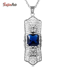 Szjinao Vintage Sapphire Lace Long Pendant For Women Noel Suspension 925 Sterling Silver Jewelry Tribal Game of Throne
