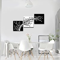 Art Leaves Modern 3 Panels Flowers Artwork Giclee Canvas Prints Black and White Abstract Floral Trees Painting Drop shipping