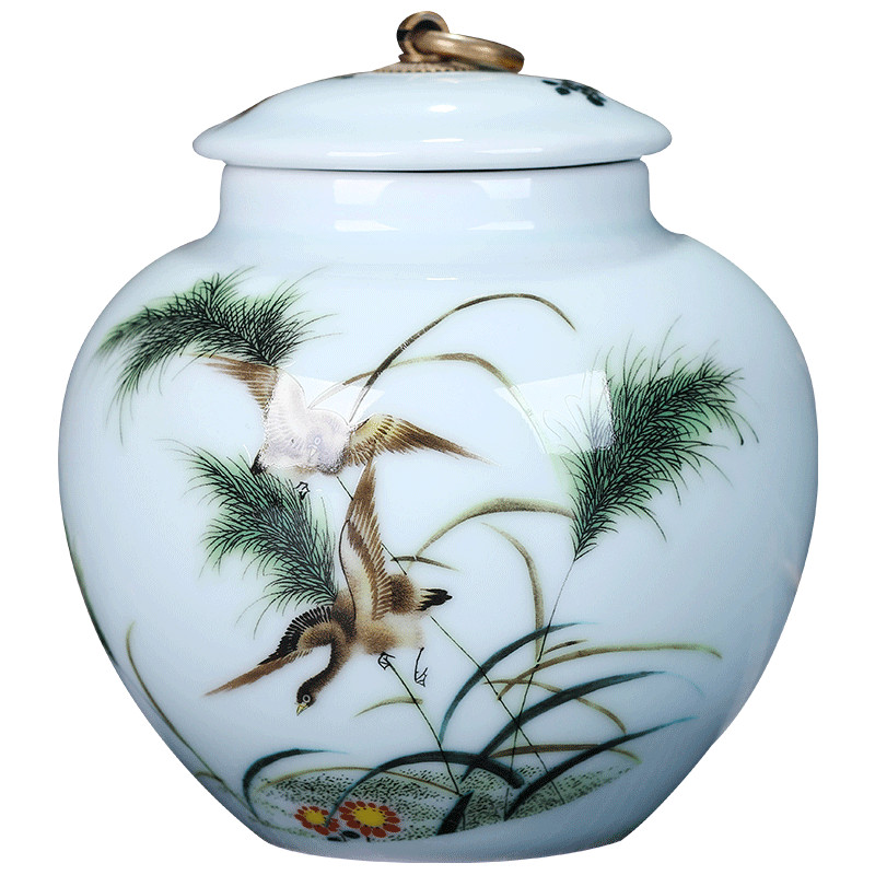 China hand-painted ceramic tea caddy Stone Glaze Ceramic Canister Sealed jar