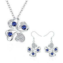 hot deal buy garilina latest design clover silver blue cz choker pendant earrings fashion jewelry sets for women s2024