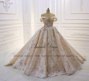 Image 3 - אמנדה עיצוב robe לונג soiree כבוי כתף תחרה Appliqued קריסטל שמפניה חתונה שמלה