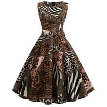 Summer Women Dress 2019 Vintage Hepburn Flower A Line Party Dress Elegant Plus Size Sleeveless Leopard Dress plus size flower sleeveless dress