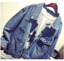 M Korean clothing new single-breasted wild loose cowgirl jacket  Cotton Office Lady Vintage Solid jackets