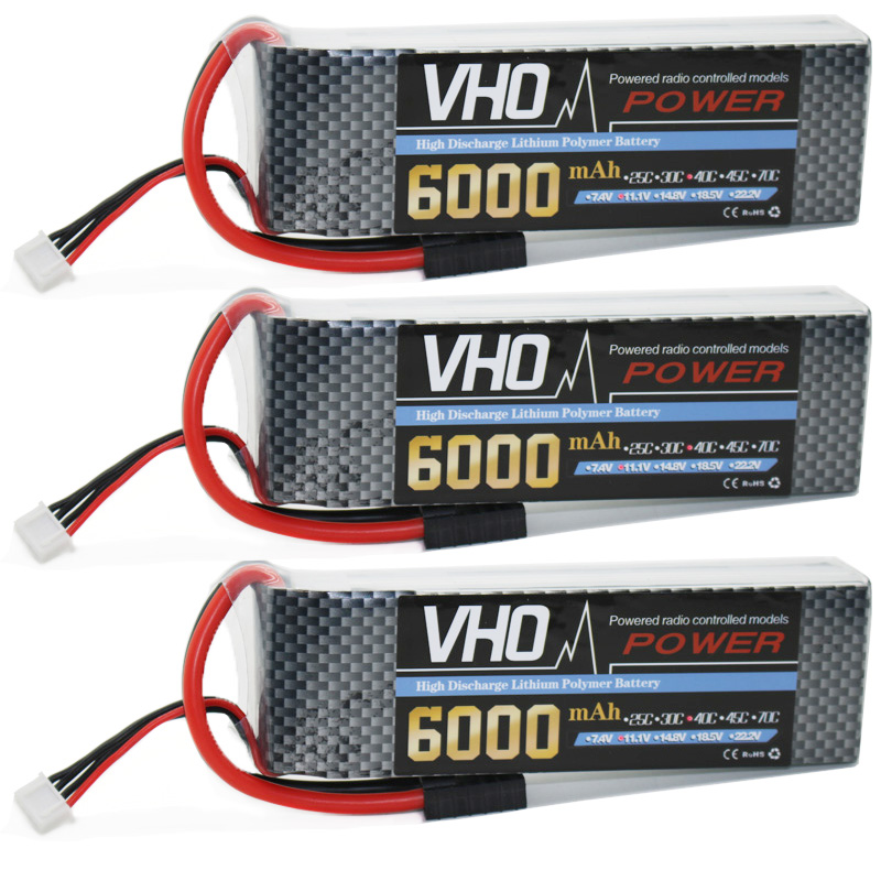 VHO 3S RC lipo battery 3PCS 11.1v 6000mAh 40C Max 80C For RC Helicopter Truck Car Airplane Quadcopter Free shipping fire bull 4s lipo battery 4s 14 8v 3300mah 30c max 40c t xt60 plug lipo rc battery for rc helicopter car boat 4s free shipping