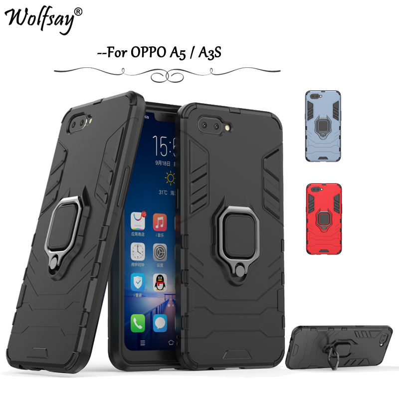 Oppo A3S Case Cover Armor Metal Finger Ring Holder Case Magnetic Case For Oppo A3S Silicone Cover For Oppo A5 A3S Shell Fundas