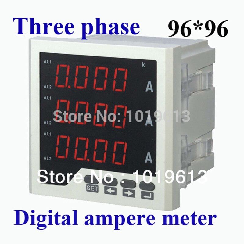 Affichage de LED d'amperemètre de compteur de panneau numérique triphasé à ca