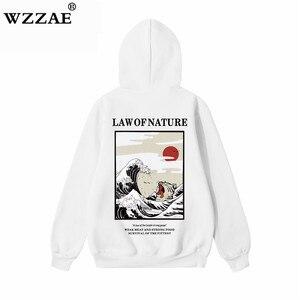 Image 4 - Wzzae japonês bordado engraçado gato onda impresso velo hoodies 2020 inverno japão estilo hip hop camisolas casuais streetwear