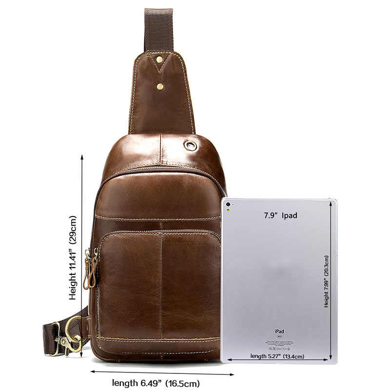 MVA Pria Tas Kulit Asli Pria Messenger/Tas Bahu untuk Pria Fashion Pria Pria Dada Cross Selempang tas Kulit 8575