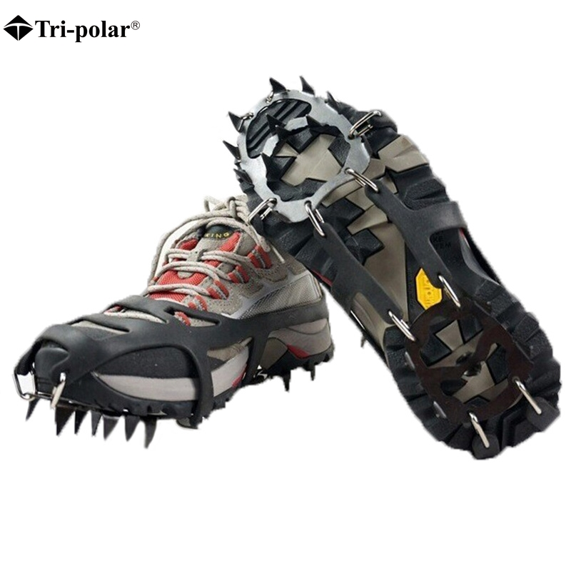 Tri-polar 18 Stud Universal Ice Non Slip Snow Shoe Spikes Grips Cleats Crampons Winter Climbing Safety Tool Anti Slip Shoes dunlop sp winter ice 02 205 65 r15 94t