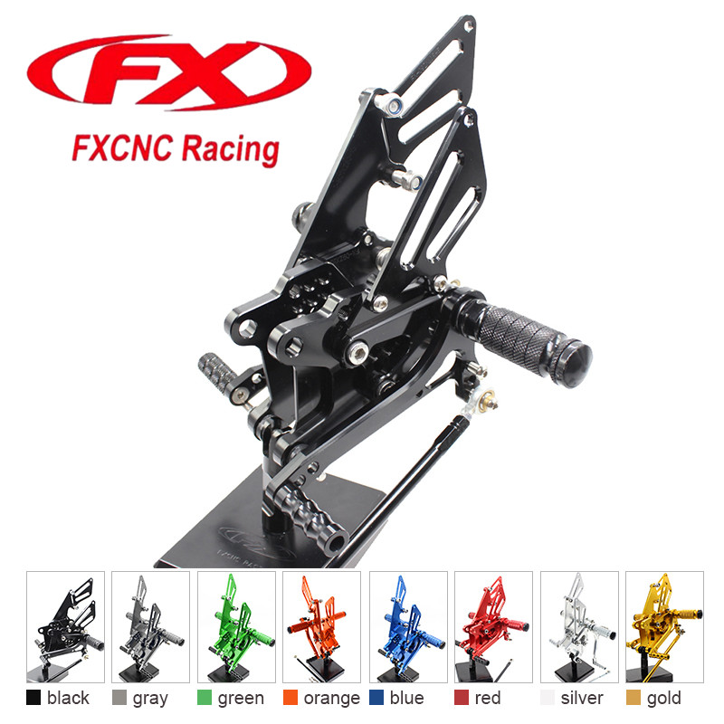 все цены на FX CNC Aluminum Adjustable Motorcycle Rearsets Rear Set Foot Pegs Pedal Footrest For KAWASAKI ZX10R 2006 - 2010 2009 2008 2007
