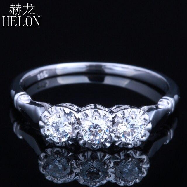 هيلون الصلبة 10k مجوهرات من الذهب الأبيض 0.3ct حقيقية Moissanites الماس خاتم الخطوبة الزفاف رائعة النساء خاتم بثلاثة أحجار