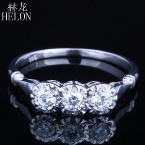 Image 1 - HELON Solid 10k White Gold Jewelry 0.3ct Genuine Moissanites Diamond Ring Engagement Wedding Exquisite Women Three Stone Ring