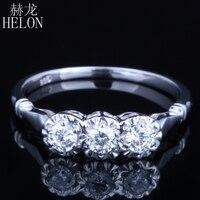 HELON Solid 10k White Gold Jewelry 0.3ct Genuine Moissanites Diamond Ring Engagement Wedding Exquisite Women Three Stone Ring