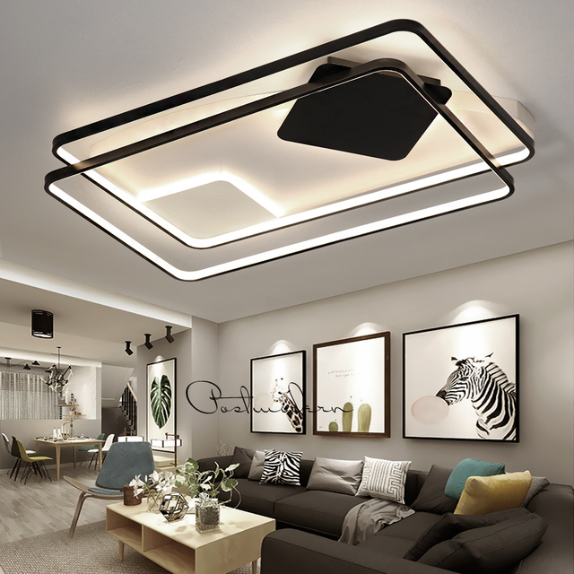 Modern Chandeliers LED Lamp For Living Room Bedroom Study Room White+black color surface mounted lights Lamp Deco AC85-265V
