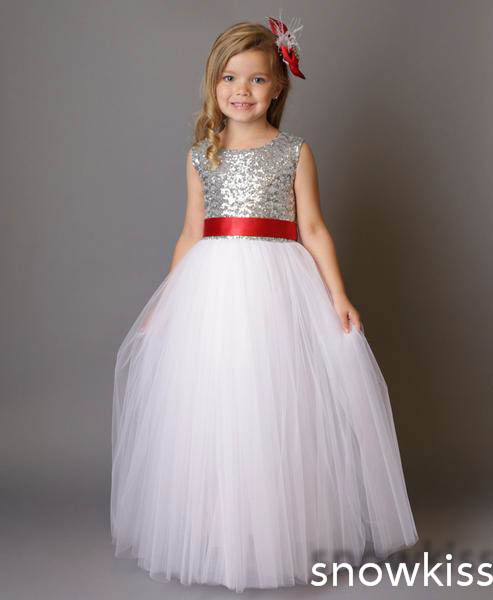 ФОТО 2017 simple real photo with red bow white tulle party princess dress A-line silver sequins backless kids girl birthday dress
