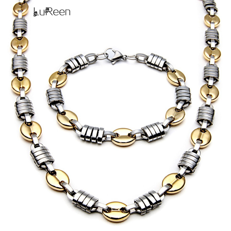 LuReen Fashion Heavy Titanium Steel Gold Color Coffee Bean Link Chain Necklace Men Hiphop Long Necklace Rapper Jewelry LN0214
