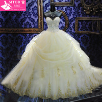 WD 29 Yellow Sweetheart Strapless BallGown Beaded Applique Lace Up Back Ruffles Royal Wedding Dresses
