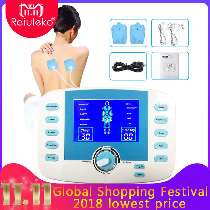 2in1 Output Tens Unit Acupuncture Pluse Massager Relax EMS Muscle Stimulator 10 Mode Electronic Digital Meridian Therapy Machine nano rechargable mini machine digital tens ems therapy massager electrode muscle stimulator acupuncture 8 mode russian gift