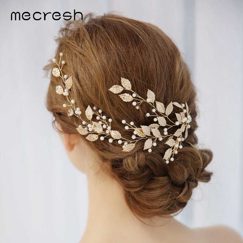 Mecresh Simulated Pearls Bridal Headpiece Women Accessories Branch Princess Hair Vine Hair Combs Wedding Jewelry For Bride FS173