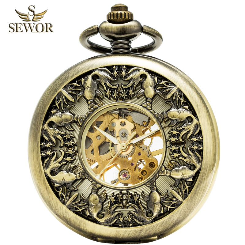 SEWOR 2019 Top Brand Fashion Honorable Bronze Enamel  Roman Number Fish Patter Mechanical Hand Wind Pocket Watches  C184