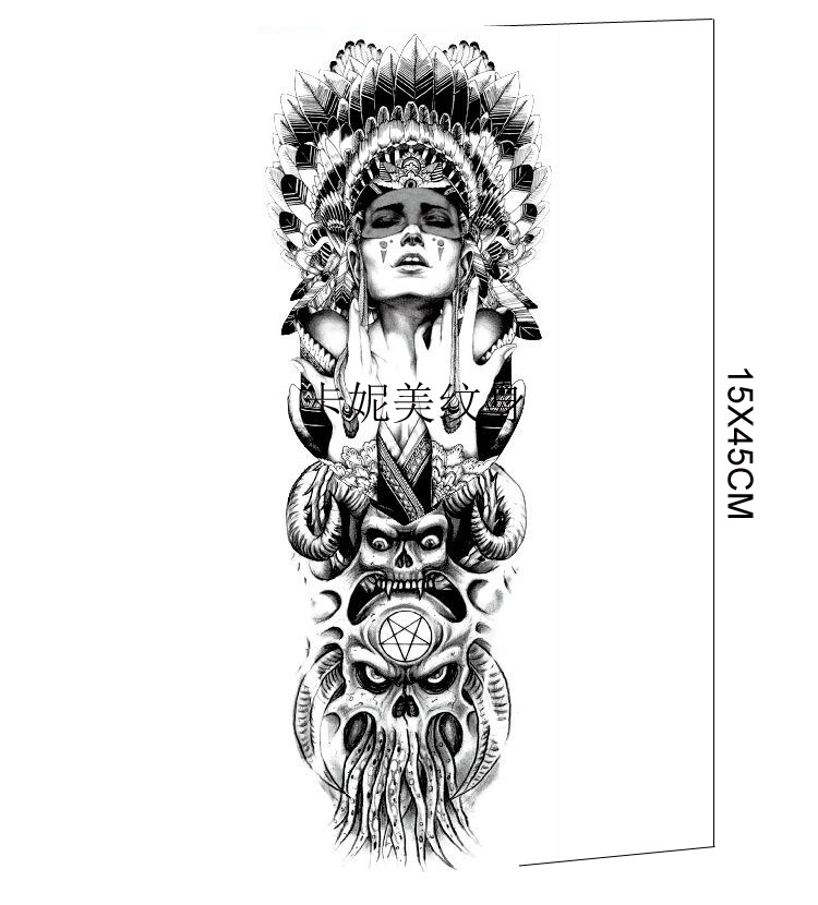 15X45cm Waterproof Temporary Whole Hand Cool Tattoo Sticker with Woman and Ghost in Black MB 14