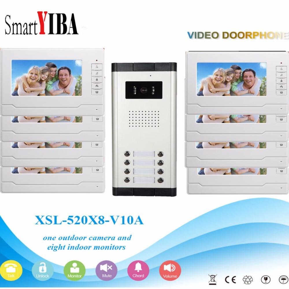 SmartYIBA Video Intercom 7''Inch Wired Color Video Door Phone Video Doorbell Phone Intercom System Kit 8 monitors+1 IR camera цены онлайн
