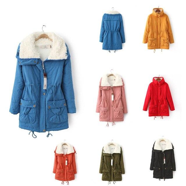 Venta Chaqueta de invierno algodón lana abrigo mujer talla