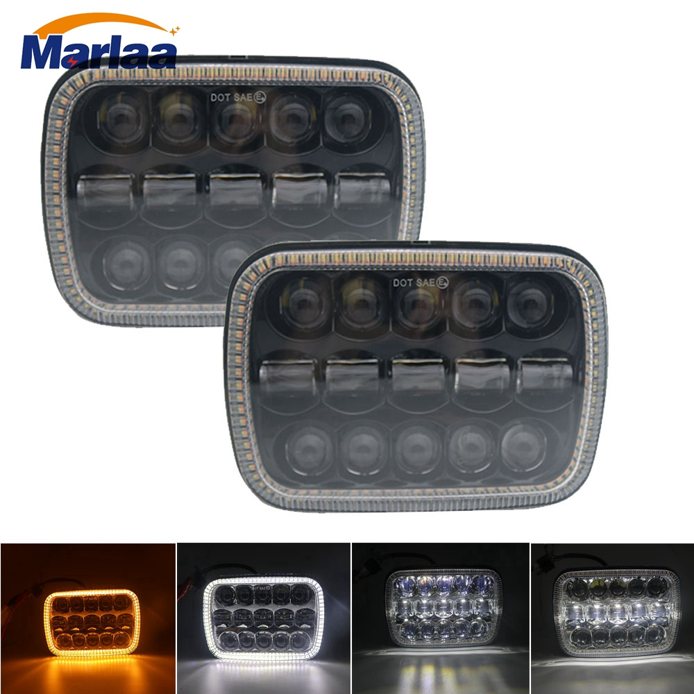 Pair Square LED Headlight 7x6 5x7 Inch Projector White DRL Yellow Turn Signal Black For Jeep Wrangler YJ Cherokee XJ Comanche MJ