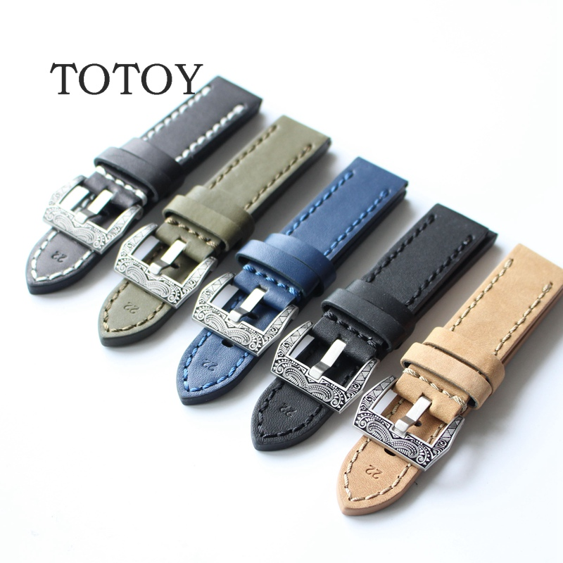 TOTOY Leather Watchbands, Handmade 20MM/ 22MM / 24MM/26mm Retro Strap For PAM Leather Strap, Fast Delivery handmade leather watchbands version classic men black 24mm 26mm watchbands for panerai strap fast delivery