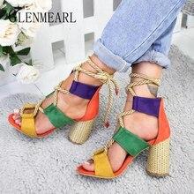 цена Women Sandals High Heels Shoes Peep Toes Summer Woman Party Shoes Brand Thick Heel Lacing Sandals Female Beach Multicolor Shoes онлайн в 2017 году