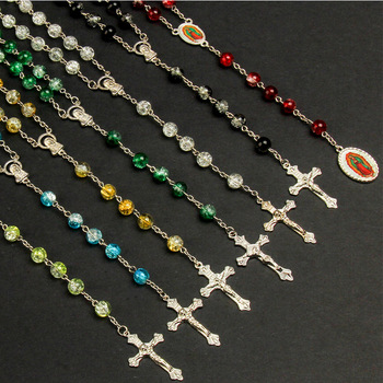 8mm Classic Handmade Beaded Glass Crystal Beads Long Chain Necklace Christ Jesus St. Benedict Cross Necklace 30 Pieces