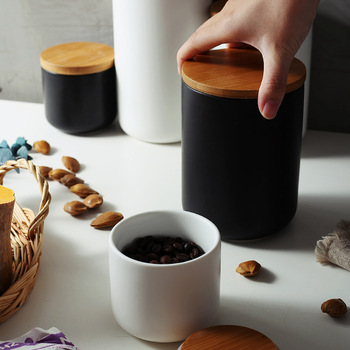 Ceramic Wood Lid Storage Bottle Jar Kitchen Food Coffee Tea Pot Seasoning Sealed   Desktop Decoration 3