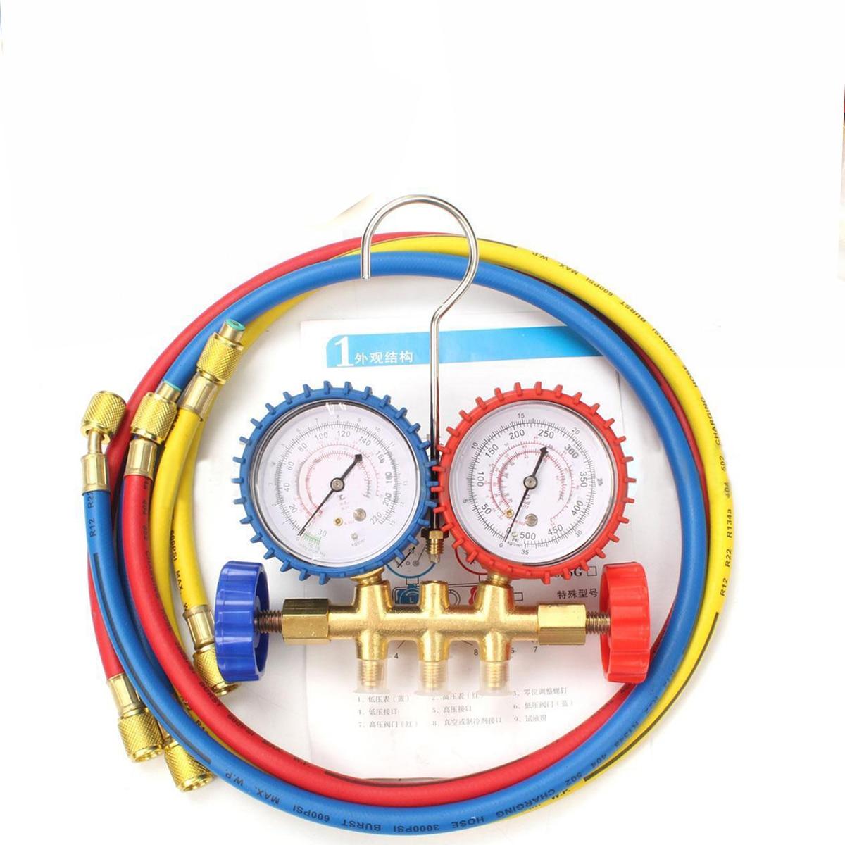 1/2PT Refrigerants Manifold Gauges Tools Set For R134A R12 R22 R404z Air Condition Refrigeration Blue Yellow Red  цены
