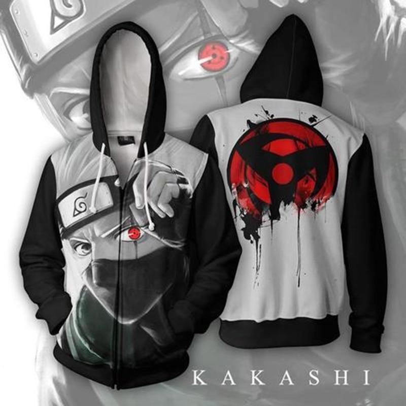New Fashion Couples Unisex Cartoon Popular Naruto 3D Print Zipper Zip-up Hoodies Hoody Sweatshirts Jackets Pullover Top